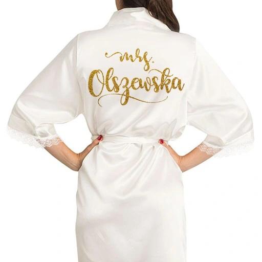 Szlafrok Satynowy Personalizowany Mrs Nazwisko Fashion Robe