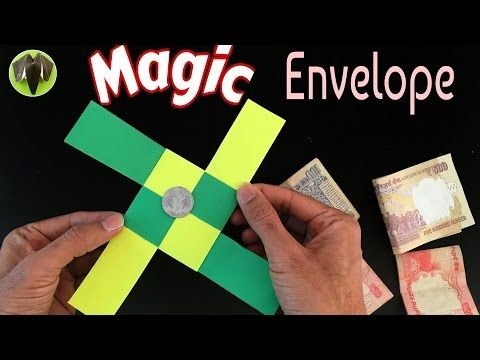 "Origami Tutorial to make ""Magic Envelope"" - Trick   DIY   Handmade - YouTube   Magic tricks for kids"