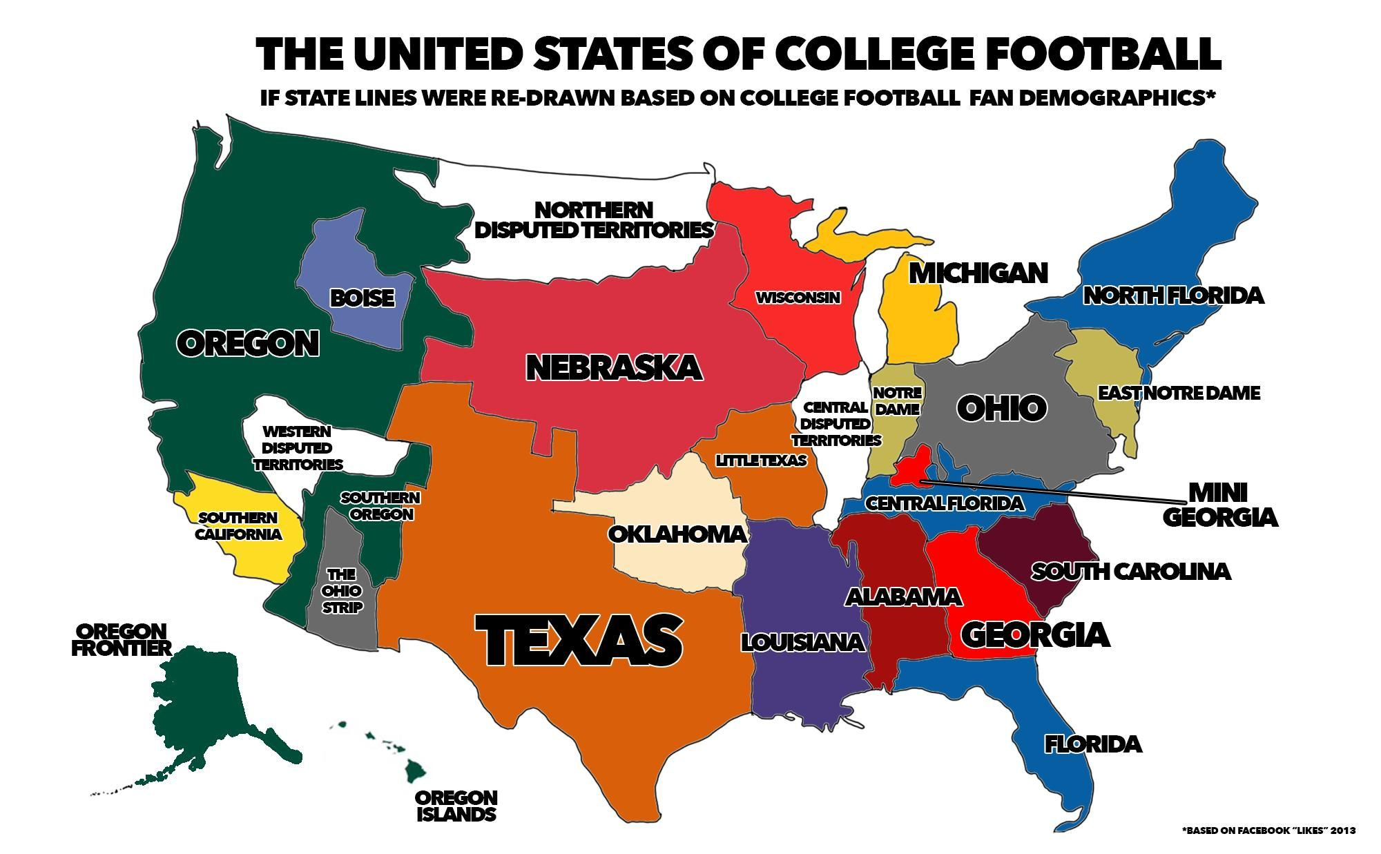 A map of where the majority of the fans for each team in college a map of where the majority of the fans for each team in college football live sciox Gallery