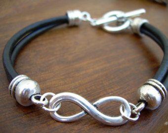 Leather Bracelet Infinity Bracelet Triple by UrbanSurvivalGearUSA