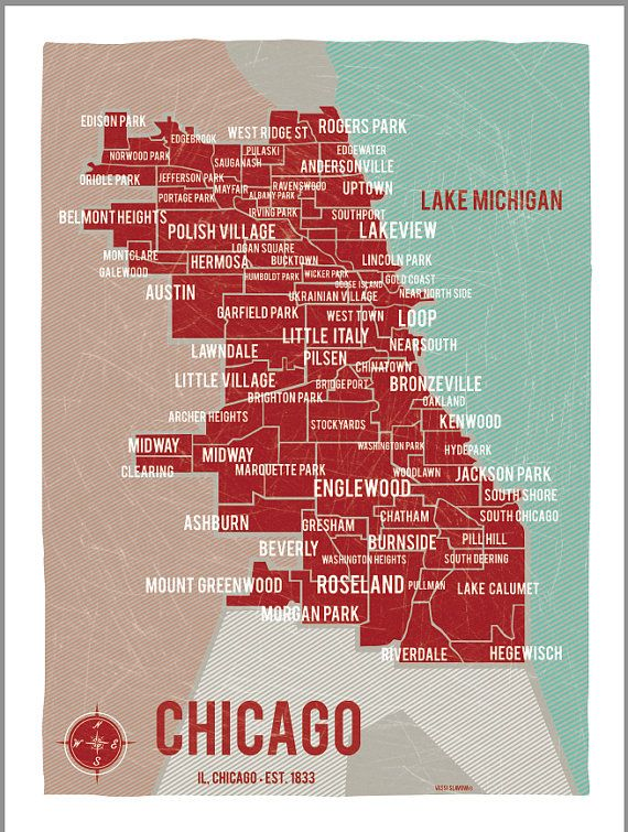 Chicago Map Poster Chicago Map Poster  Vintage Style Print 18