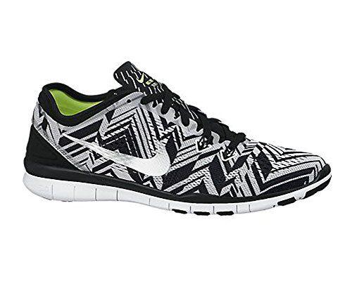9d3fc3b34007 Women s Nike Free 5.0 TR Fit 4 Print Training Shoe Black White Metallic  Silver