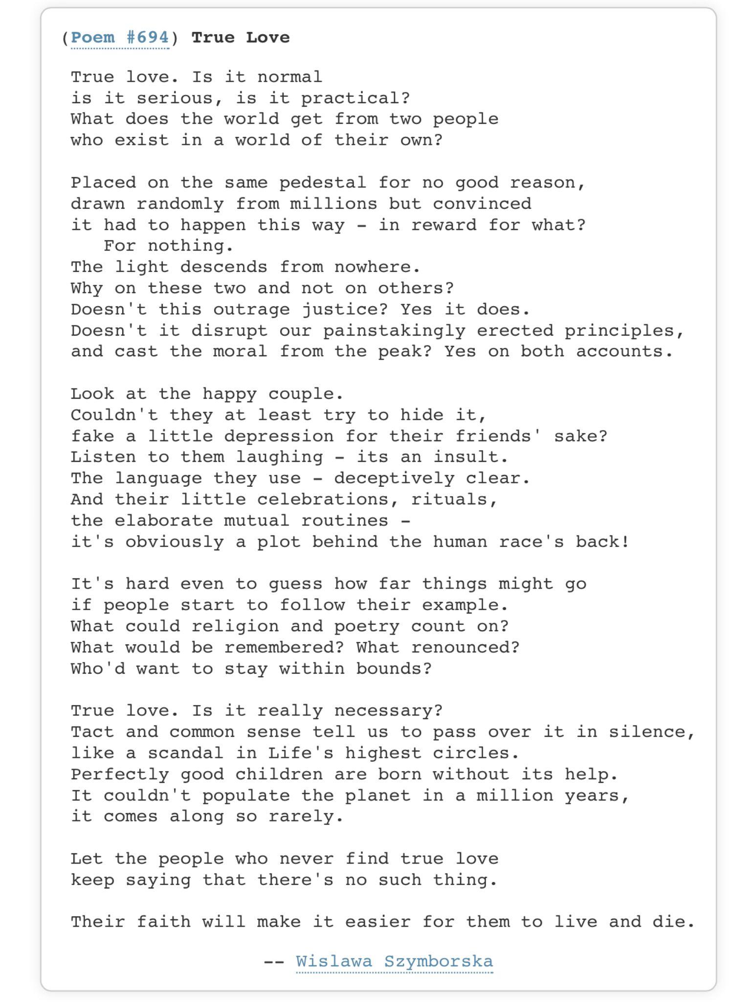 szymborska poems love textpoems org