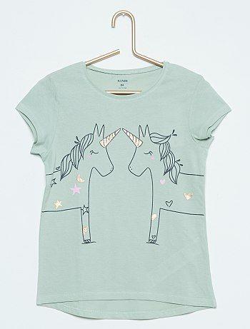 851f57007ab1f Tee-shirt imprimé lapin vert cendré Fille - Kiabi