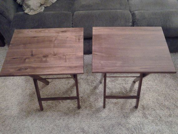 Attrayant Rustic Walnut TV Tray Tables
