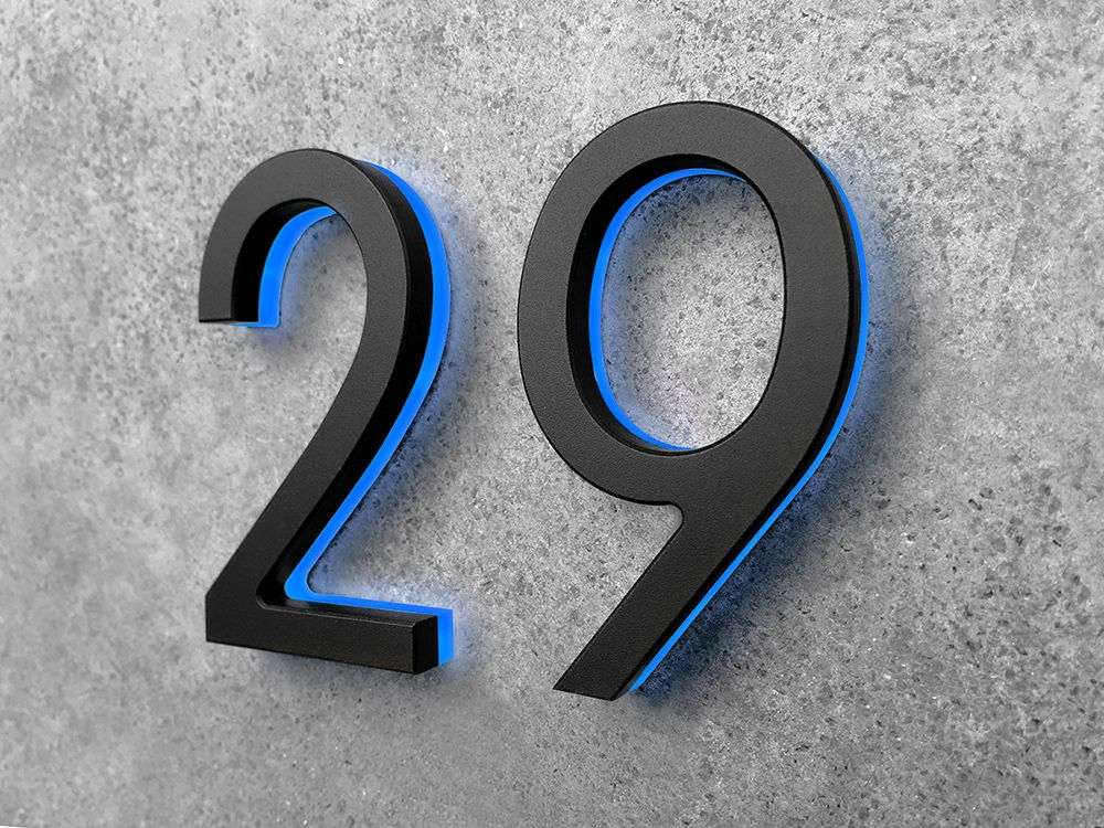 Modern Black Numbers Backlit 5 Luxello House Numbers Modern