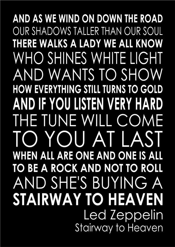 Stairway to Heaven Led Zeppelin - Word Typography Words Song Lyric ...