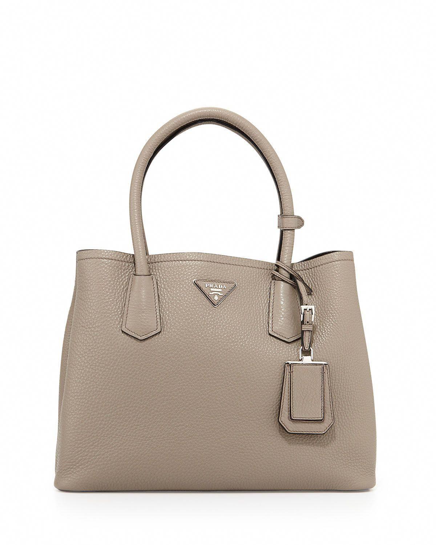 2de5496490cf Prada Vitello Daino Small Double Bag, Gray/Black (Argilla+Nero), Size: S,  Grey/Black #Pradahandbags