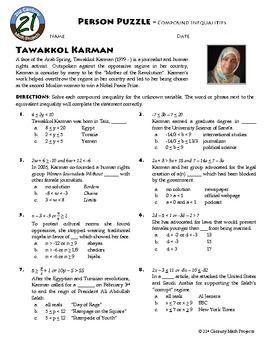 Person Puzzle Compound Inequalities Tawakel Karman Worksheet Compound Inequalities Inequality Algebra