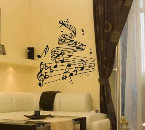 Housewares Vinyl Decal Abstract Musical Notes Scale Home Wall Art ...