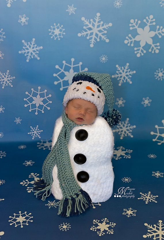 Crochet Pattern Newborn Snowman Hat Scarf And Cocoon Set Crochet Newborn Snowman Photo Prop B Newborn Crochet Patterns Newborn Crochet Crochet Baby Cocoon