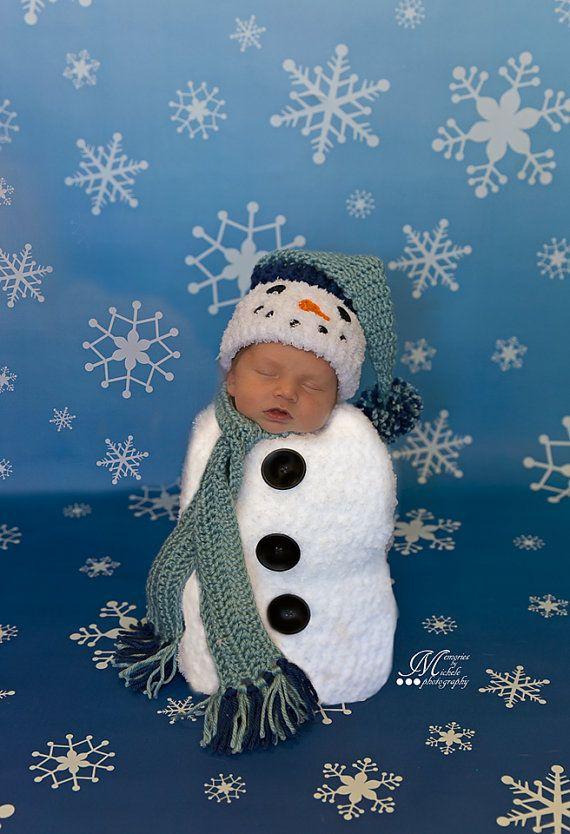 Crochet Pattern Newborn Snowman Hat Scarf And Cocoon