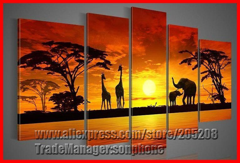 Find More Painting Calligraphy Information About Framed 5 Panel Large Africa Elephant Giraffe Sunset L African Wall Art Canvas Art Painting Hand Painting Art