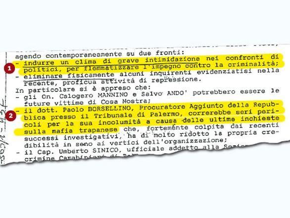 «Seri pericoli per Borsellino» La strage annunciata di via D'Amelio Una nota dei Carabinieri del 20 giugno 1992, un mese prima dell'attentato, avvertiva che il bersaglio, dopo Falcone, sarebbe stato il procuratore aggiunto di Palermo