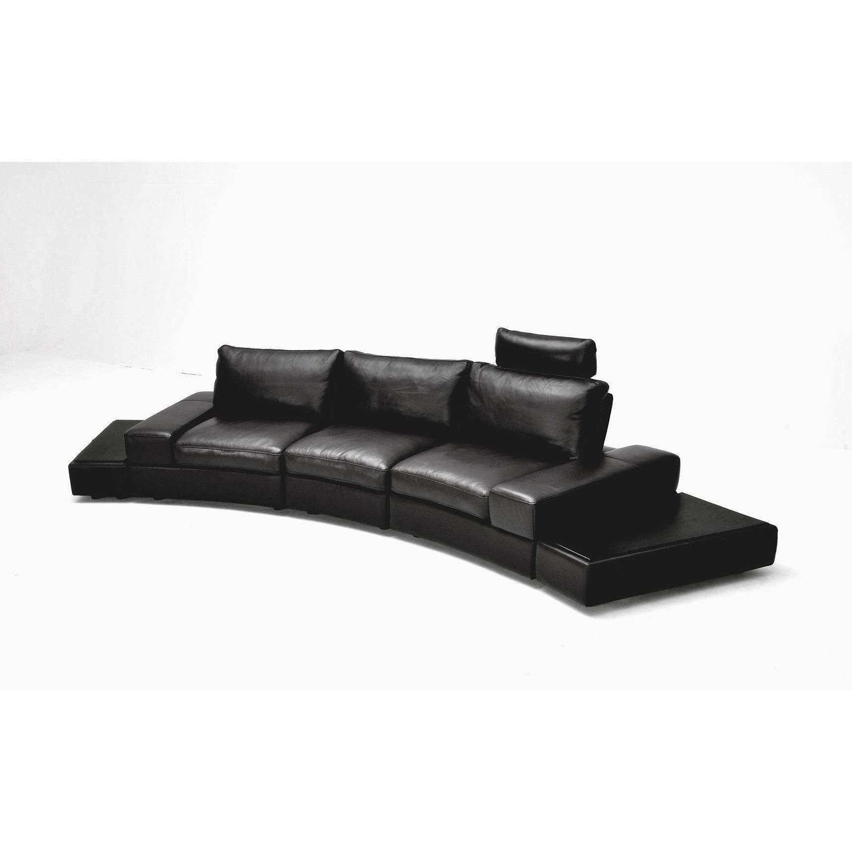 Divani Casa Lilac Black Full Grain Leather Sectional Sofa Set