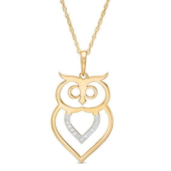 Zales 1/20 CT. T.w. Diamond Laser-Cut Double Heart Pendant in 10K Rose Gold tPuuHgX