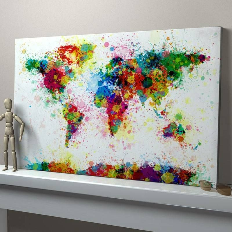 Leinwand malen weltkarte bunt kleckse idee originell kaminsims make a stencil of the world with some areas missing near the continents and splash paint away paint splashes world map art print idea for journal also gumiabroncs