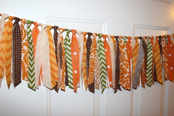 Thanksgiving Fall Fabric Garland Rag Tie Banner Party by craftyPT