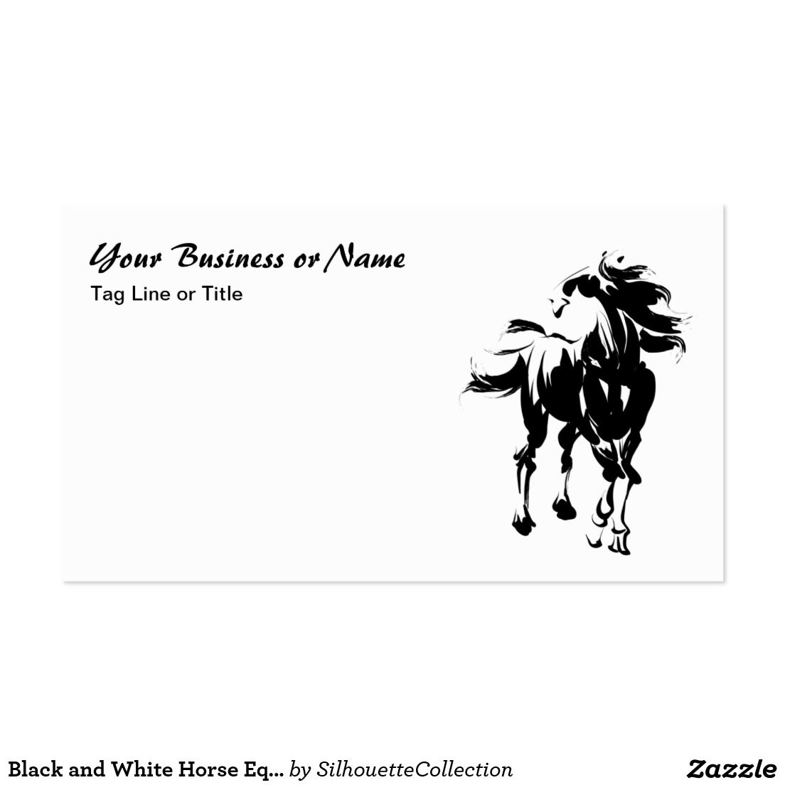Black and White Horse Equestrian Business Card | Horses and Ponies ...