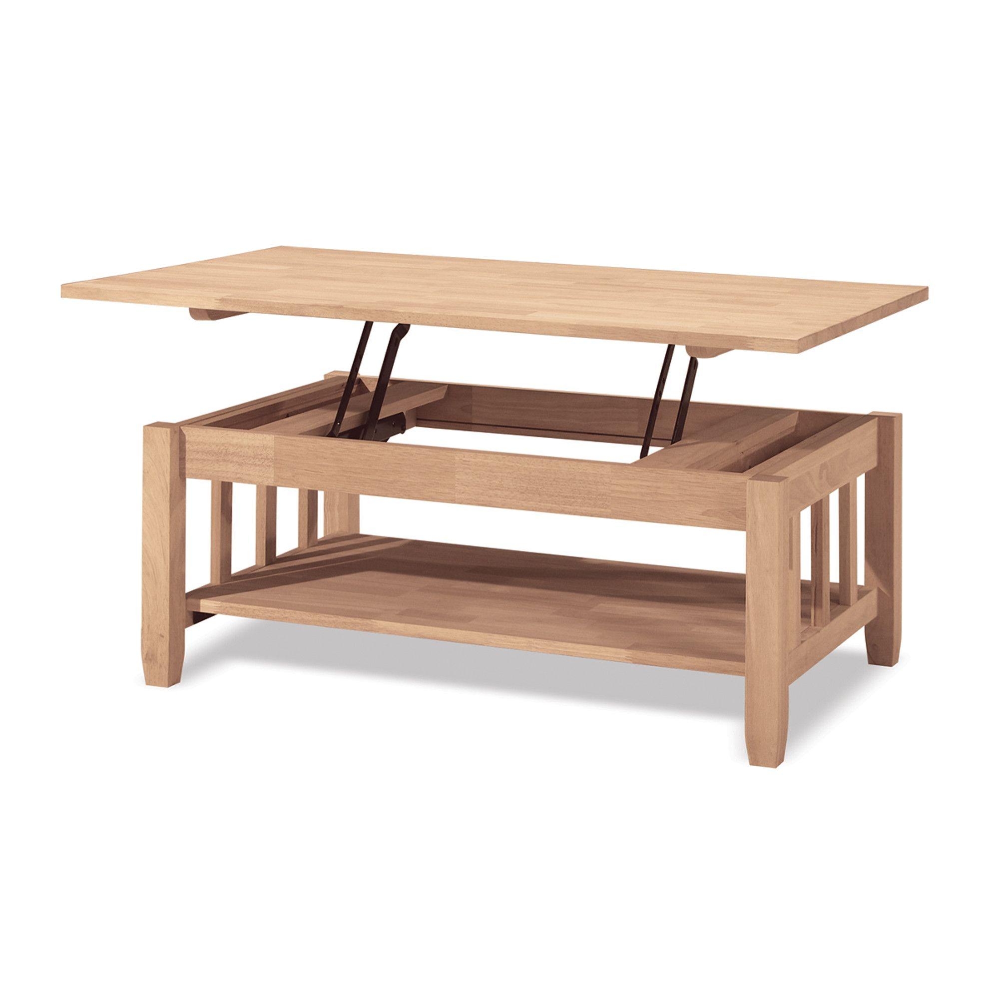 International Concepts Unfinished Wood Mission Coffee Table With Lift Top Mulcrone Manor