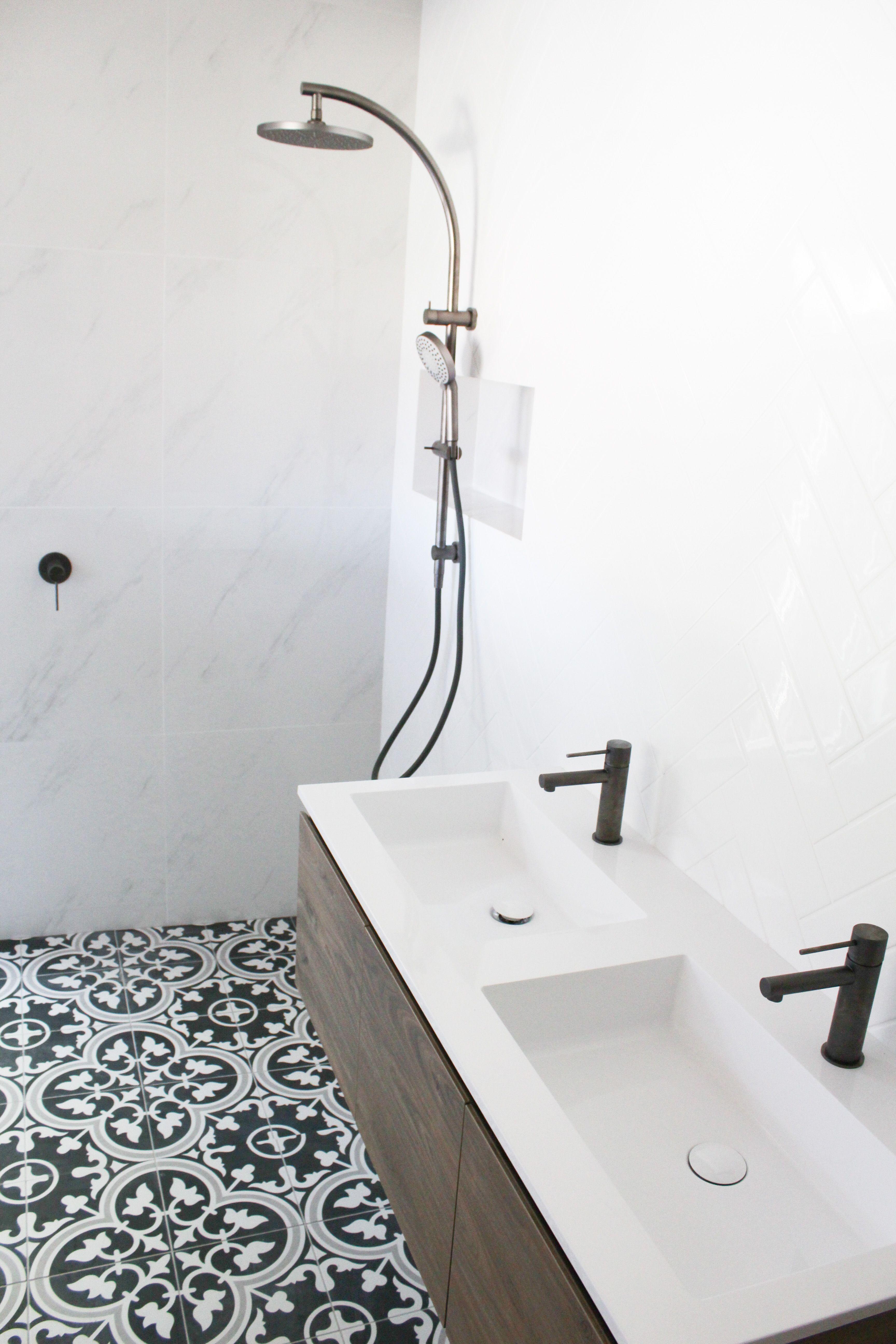 Encaustic Black And White Floor Marble Feature Wall Herringbone Tiles Wall Hung Dark Wood Vanity Wood Vanity Herringbone Wood Bathroom Renovations Perth