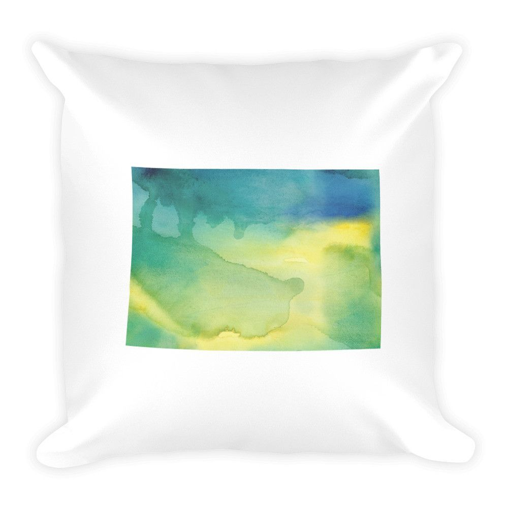 Colorado watercolor pillow in blue and green