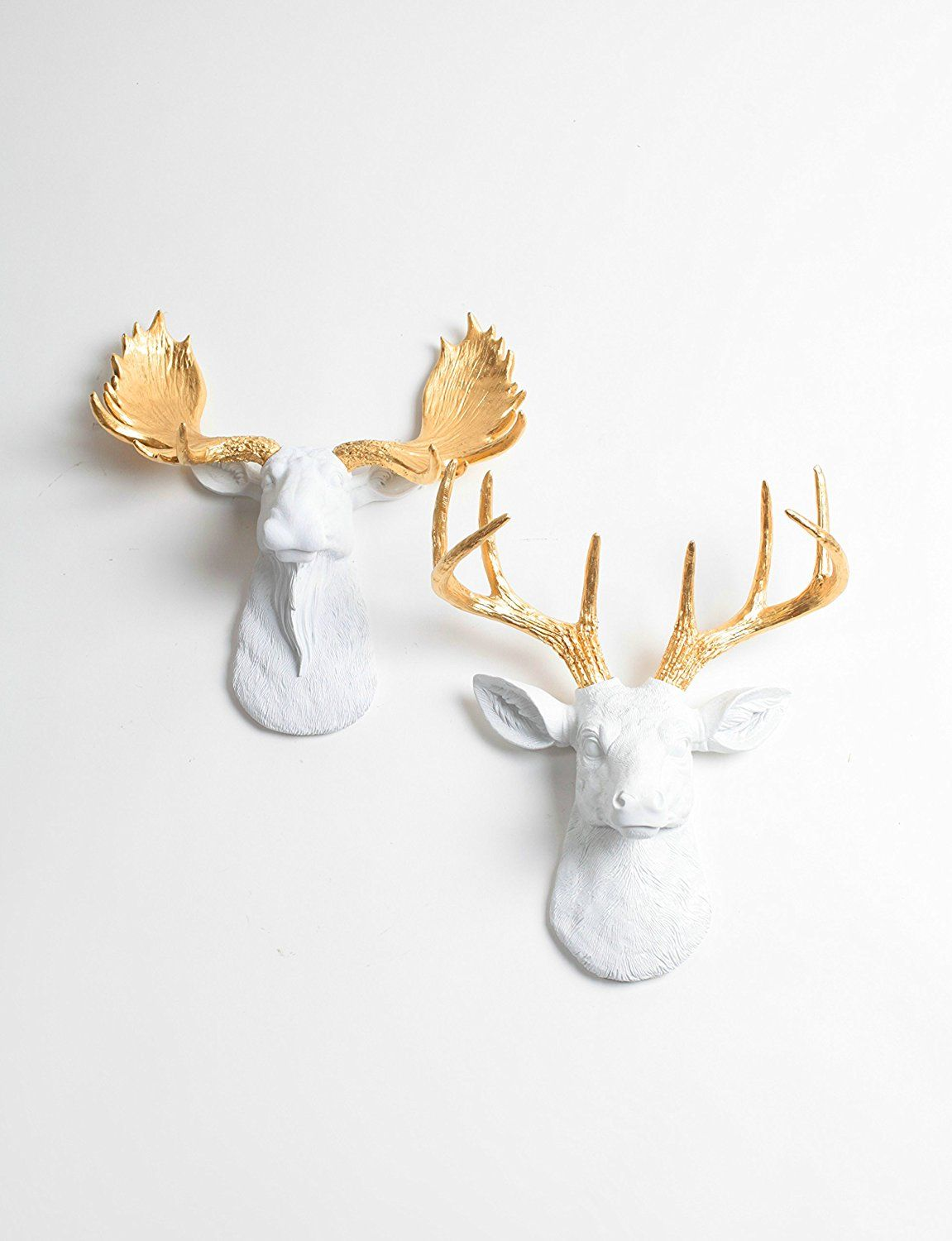 Mini Deer Head Wall Decor And Mini Moose Mount Set White Stag And Moose Head With Gold Antlers By White Fa White Faux Taxidermy Moose Head Wall Art Faux Deer