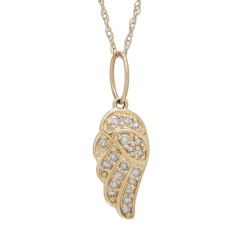 10k Yellow Gold Diamond Angel Wing Pendant With Chain In 2020