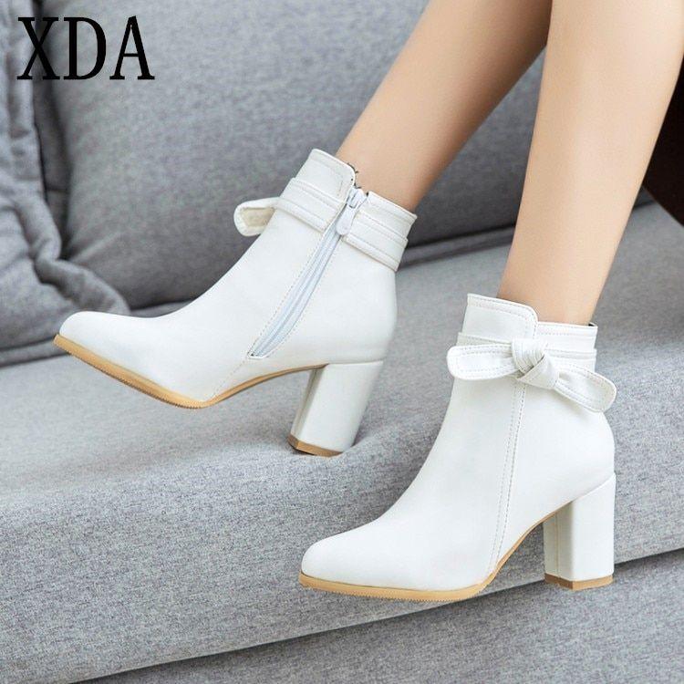 Square Heel Bow Women Shoes Woman Fashion High Heels Winter Ankle Boots Female Footwear Black White Beige