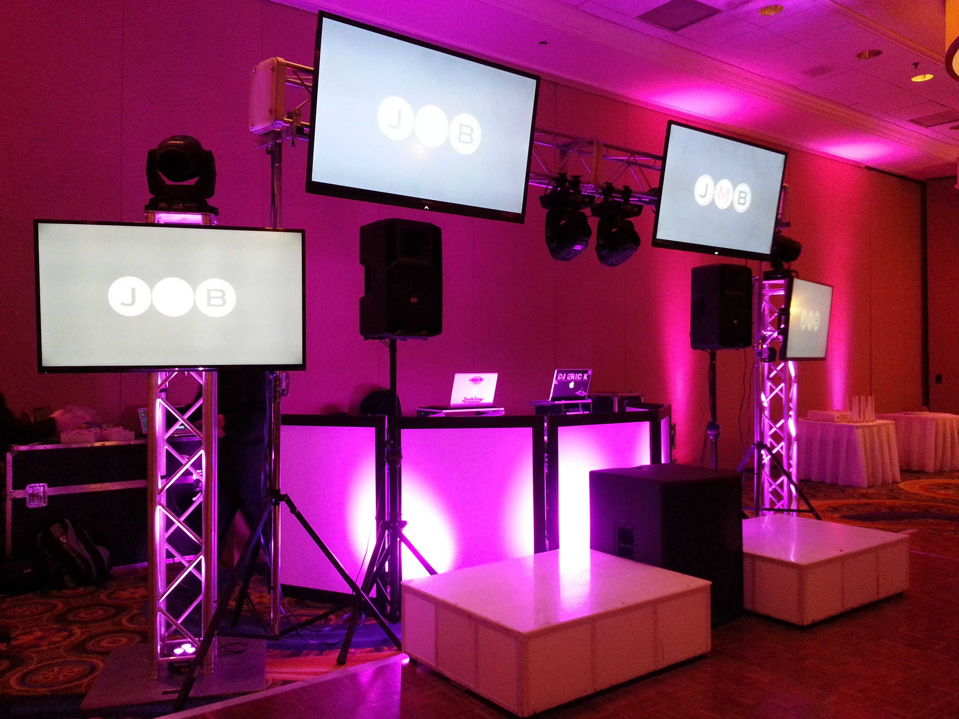 DJ Set up at the Westchester Marriott with 4 TV Screens, 2