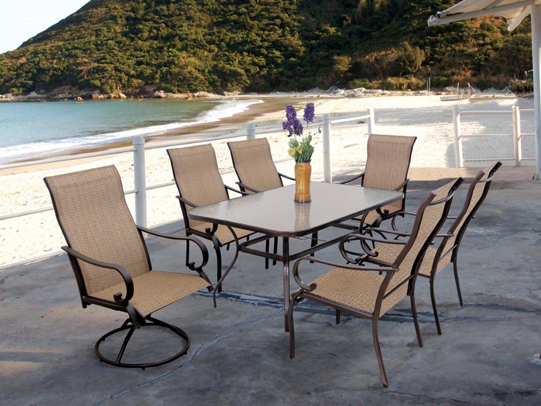 Amazon Com 7Pc Cavalia Steel Outdoor Dining Table Set By 640 x 480