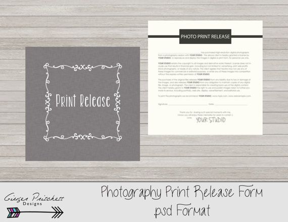 Copyrights release form, print release form, photography print
