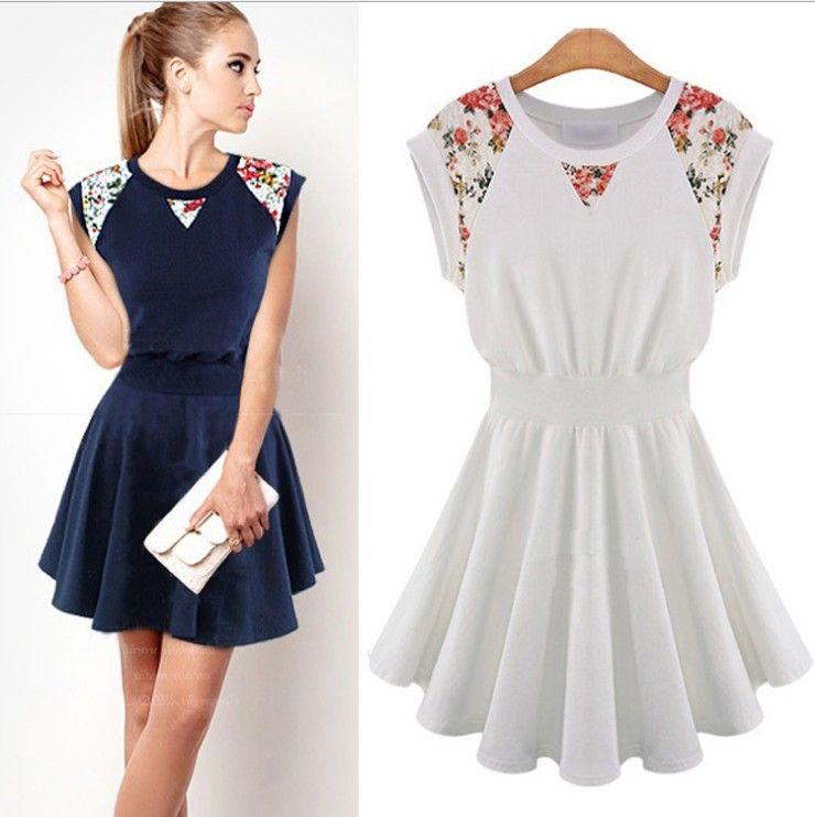 New 2014 spring summer fashion women's dresses round neck ...