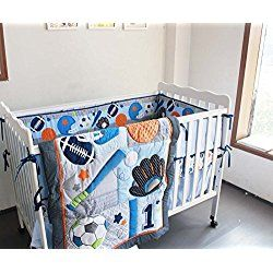F C L 8 Pieces Baby Boy Sport Crib Bedding Set Blue Bedding Sets