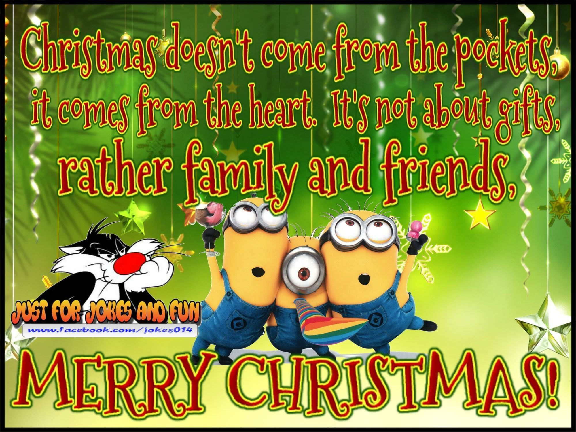 Merry Christmas Minion Quote For Family And Friends