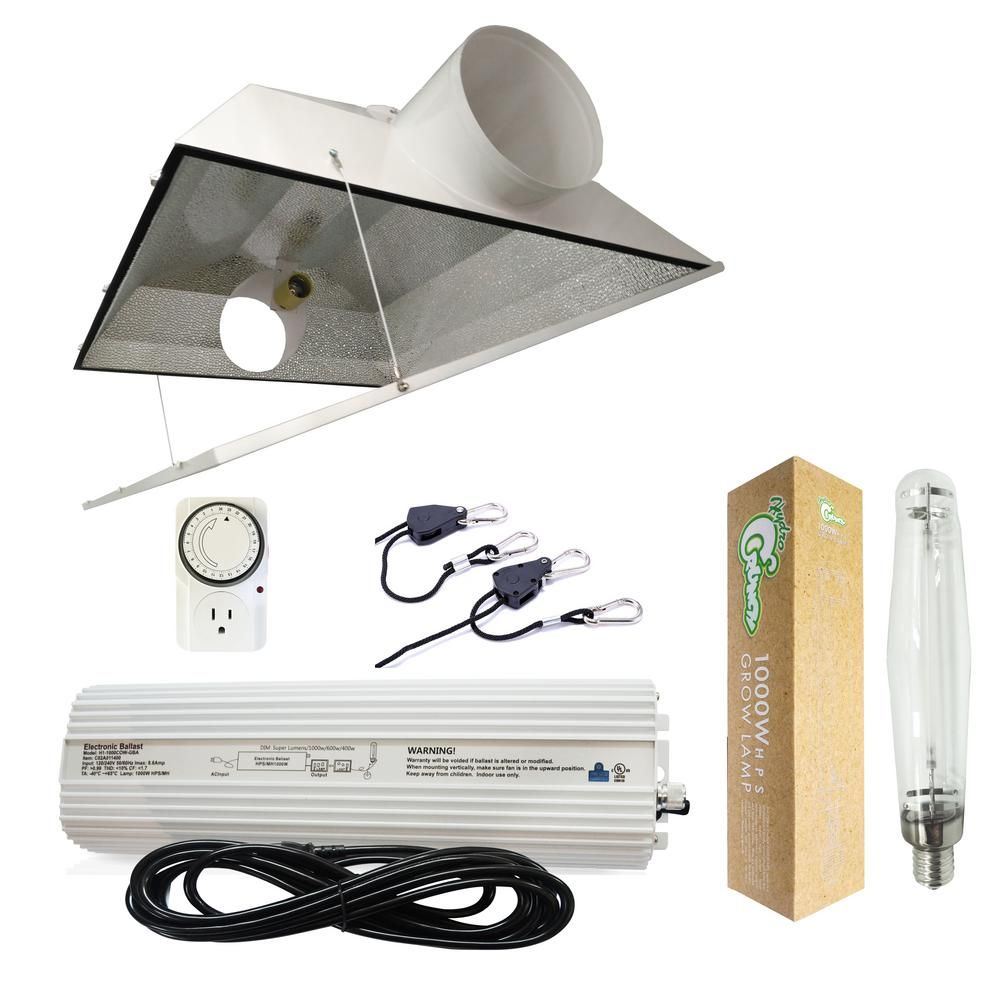 Hydro Crunch 1000 Watt Hps Grow Light System With 6 In Extra Large Air Cooled Hood Reflector White Hps Grow Lights Lighting System Specialty Light Bulbs