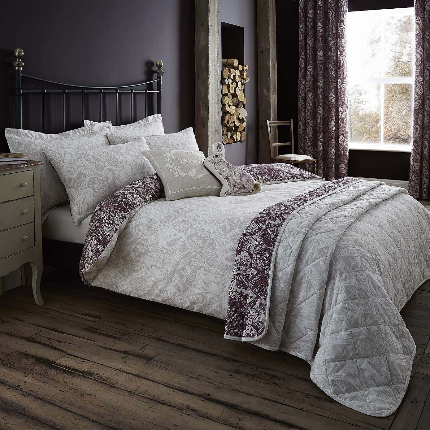 Willow Plum Reversible Duvet Cover And Pillowcase Set In