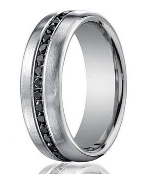 Designer 14k White Gold Men S Eternity Band Black Diamond 7 5mm Black Wedding Band Mens Wedding Bands Black Black Diamond Wedding Bands