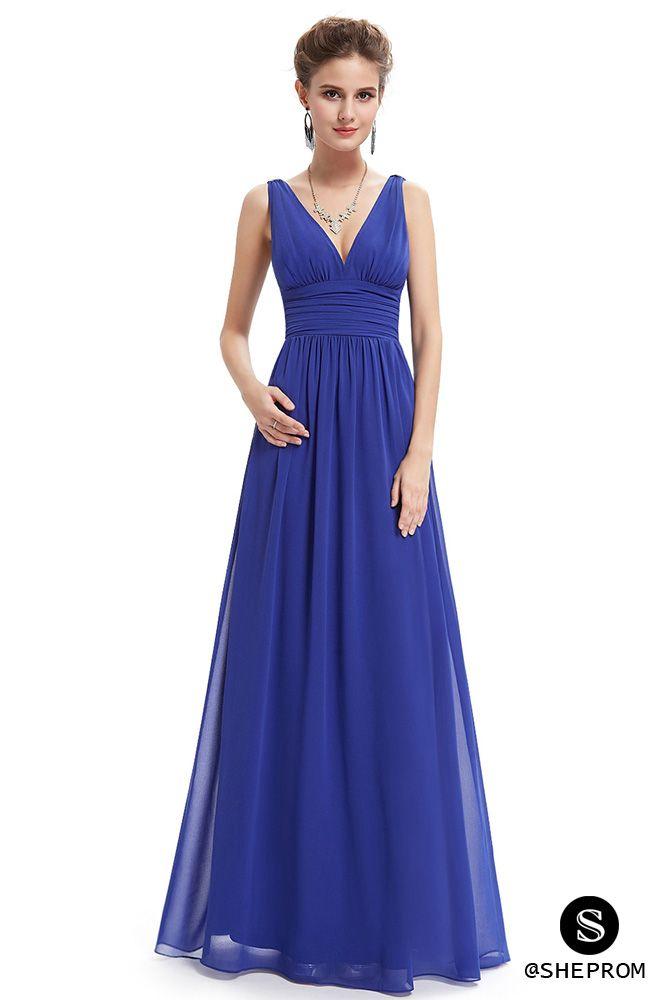 Simple Royal Blue Double V-Neck Chiffon Evening Dress ...