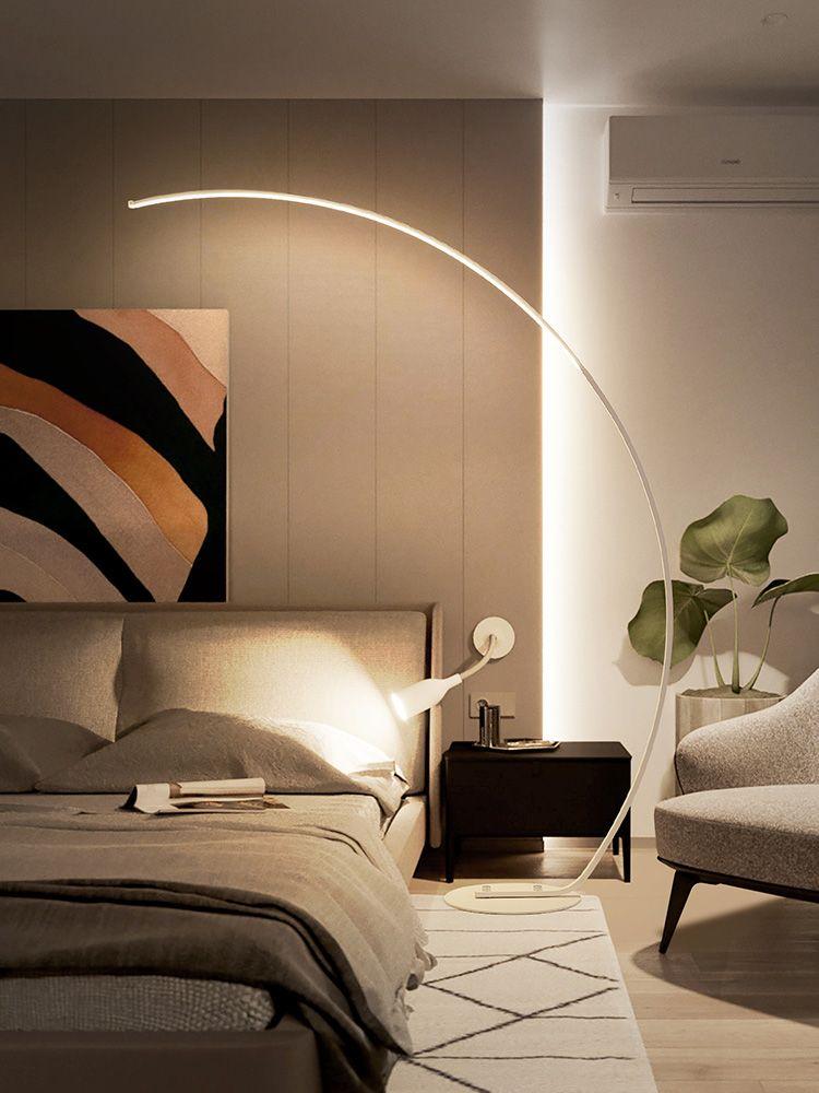 Floor Lamp Simple Modern Arc Style Remote Control Stepless Dimming Led Fishing Lamp Standing Lamp Fish Lamp Floor Lamp