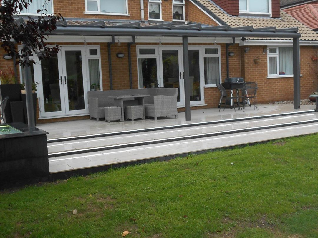 Landscaping Gardendesign Landscaping Outdoorliving With Glass Awning Amp Ceramic Paving Westbridgford Landscape Structure Patio Landscaping Garden Awning