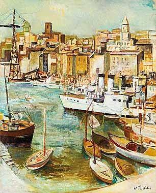 """VIKTOR TISCHLER -  """"Marseille Hafen"""", 1936"""