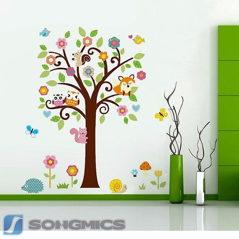 Wandtattoo Waldtiere Eule Baum für Kinderzimmer Wandsticker ...