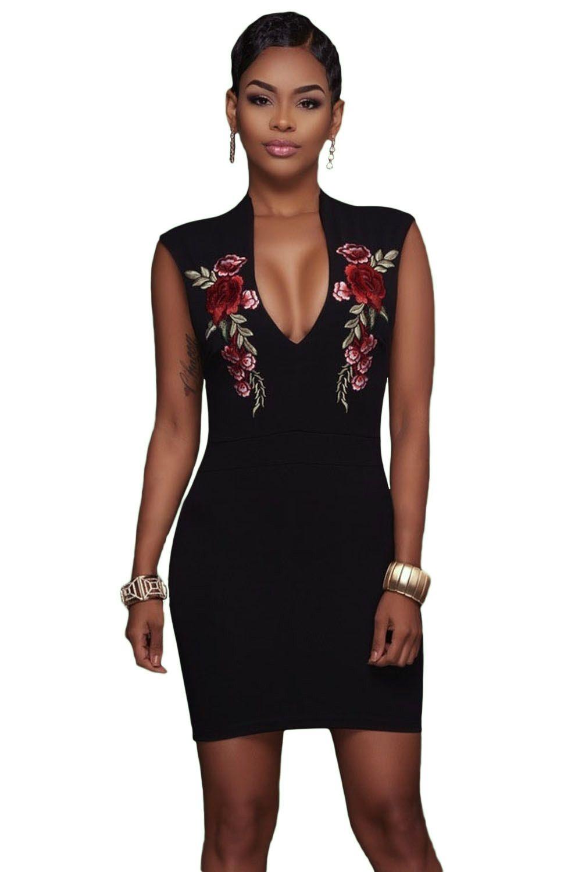 d409fad46f Sukienka czarna hafty mini z dekoltem
