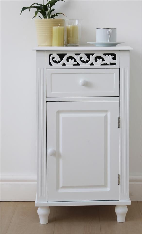 White Bedside Cabinet with Drawer and Fret Cut Panel Home