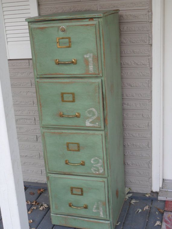 Green Antiqued Wood File Cabinet by RustyJunquers on Etsy | DIY ...