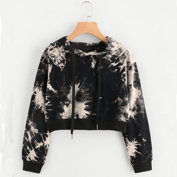 Women Autumn Winter Water Color Tie Dye Hoodies Long Sleeve Loose Hooded Sweatshirt Fashion Sexy Black Cropped Tops Pullover   Wish