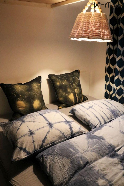 Rückenpölster fürs Bett mit gebleichtem Muster (mit