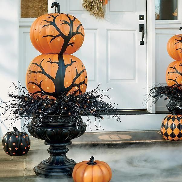 Halloween Pumpkins Stacked Topiary w/ Creepy Tree Fall Outdoor Porch