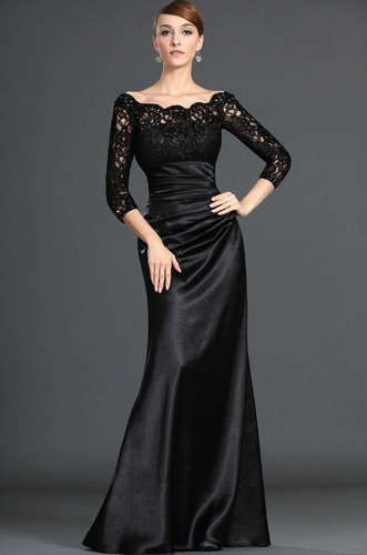 NEW Black Lace Evening Long Sleeve Wedding Dresses Prom Evening Dresses Custom | eBay